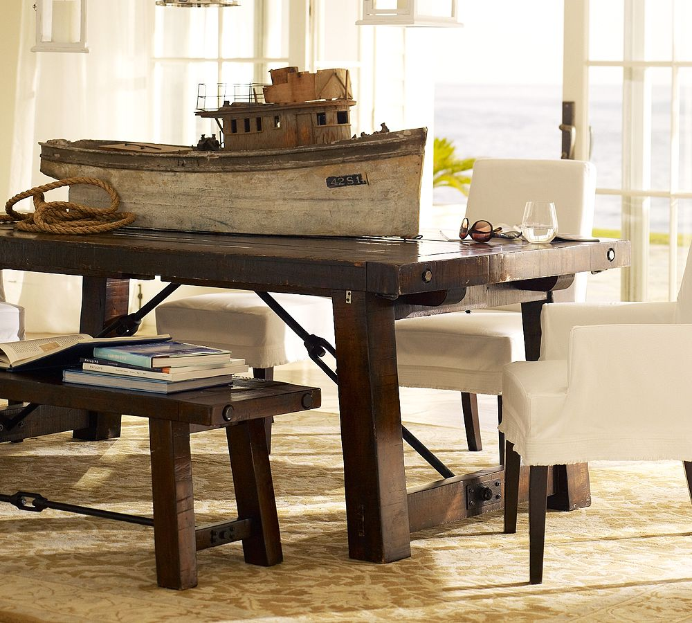 Dining table pottery barn wright dining table - Dining room table decor ...