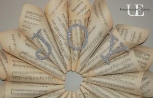 """JOY"" Sheet Music Wreath"