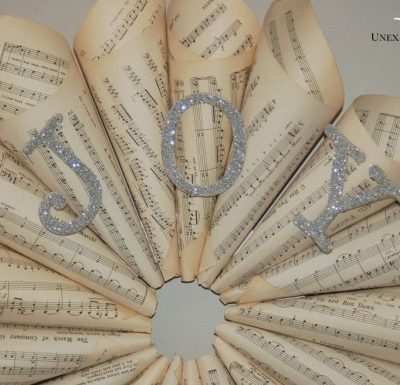 """JOY"" Sheet Music Wreath"