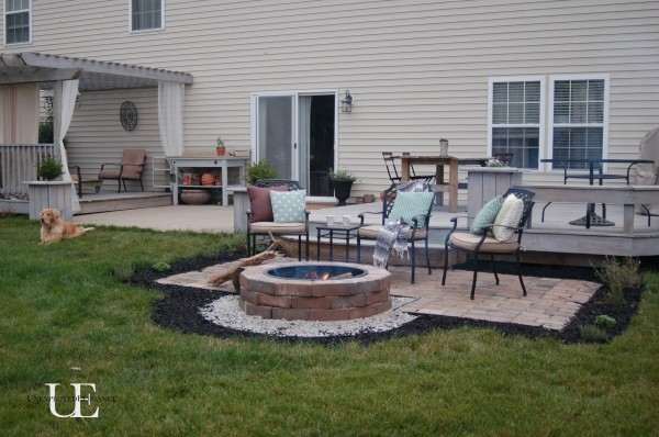 garden design with diy paver patio and firepit with backyard lights from - Fire Pit Ideas Patio
