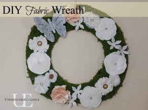 diy fabric flower and butterfly wreath