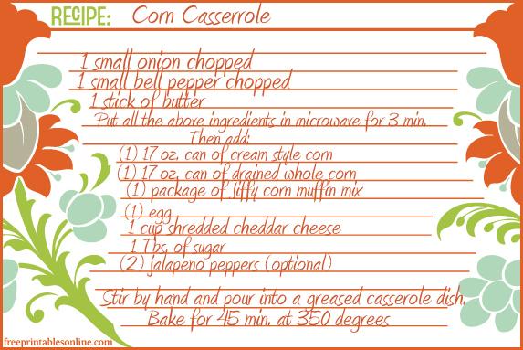 Corn Casserole Recipe Card