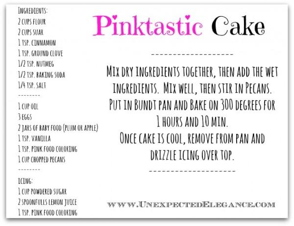 Cake recipe card