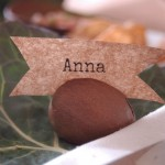 Simple place card holder from avocado seed at Unexpected Elegance