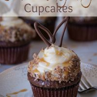 Salted Milky Way Cupcakes with Chocolate Bunny Ears