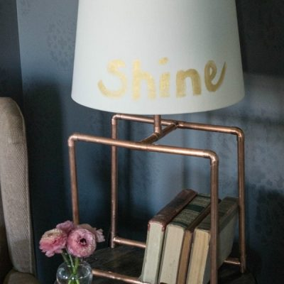 DIY Copper Table Lamp and LED Power Light
