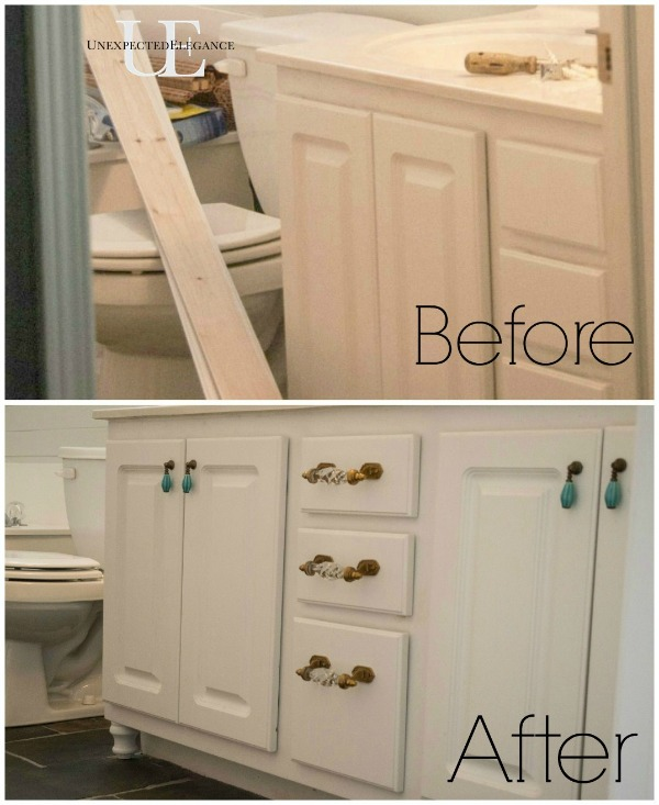 Awesome A Few Months Ago I Posted About Plans For The Master Bathroom  Vanity Space We Began This Remodel By Repurposing Instead Of Replacing The Existing Vanity To Save Money After Removing The Old Mirror And Countertop, We Updated By