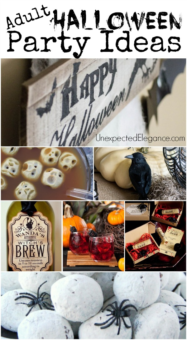 Get some great ideas for an Adult theme Halloween Party!!  From decor to halloween food...