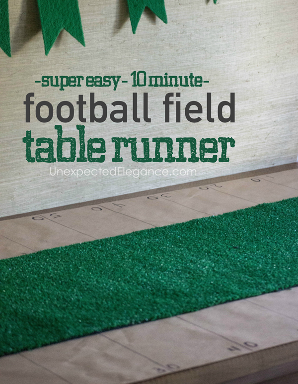Easy super bowl party decor 10 minute football field for 10 minute table runner directions