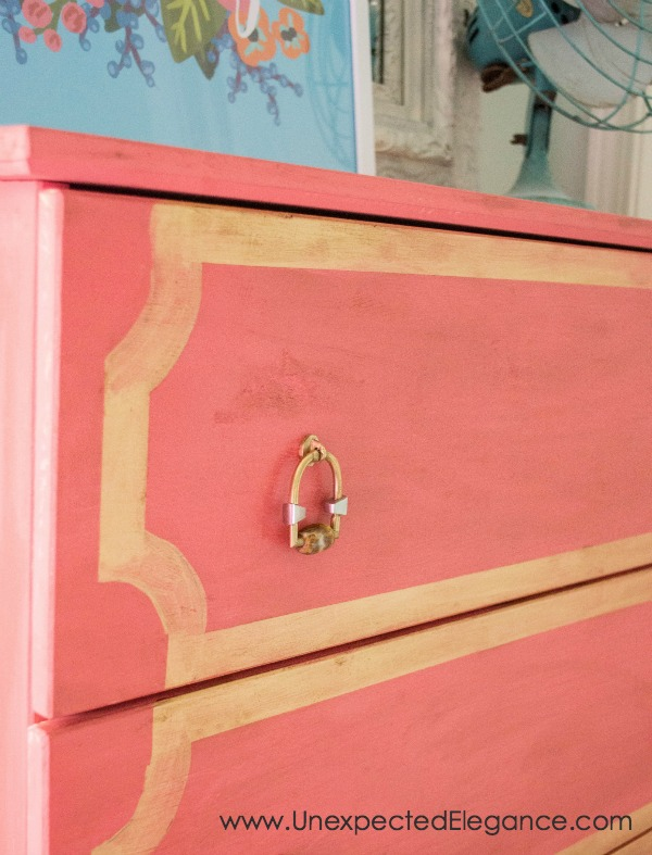 Want to dress up an inexpensive Ikea dresser?!  Check out this Ikea dresser update, made with just a few simple supplies!!