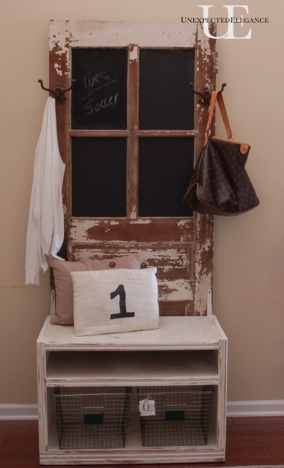Outdated Entertainment Center Becomes Entry Coat Rack