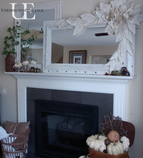 Fall is right around the corner!  Are you dreaming of cooler weather yet?  Check out this easy Fall Mantel Makeover, complete with a FREE paper flower garland.