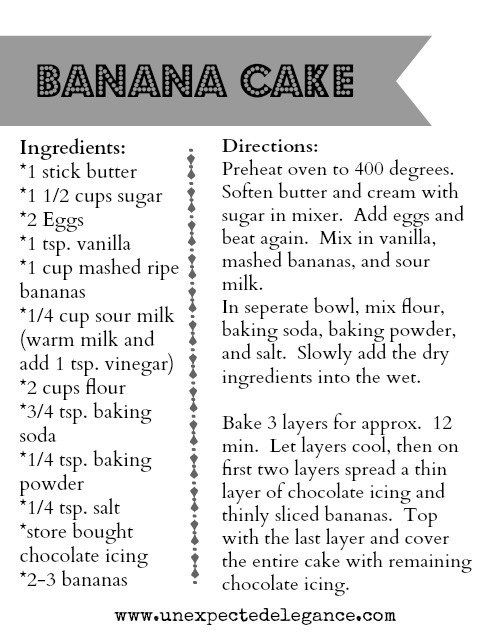 Banana Cake Recipe Card from Unexpected Elegance