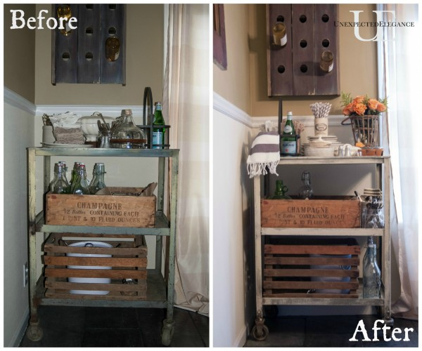 Before and After Rolling Cart via Unexpected Elegance