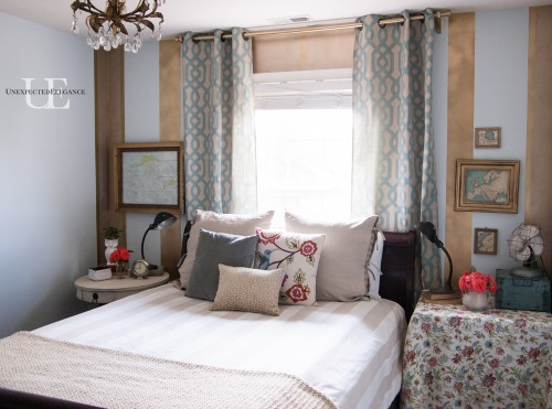 Gold Striped Guest Bedroom at Unexpected Elegance -12