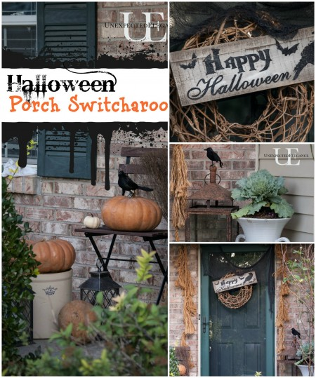 Halloweeen Porch Switcharoo Collage at Unexpected Elegance