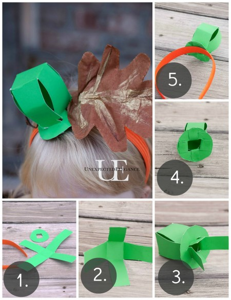 Steps for making Pumpkin Stem Headband at Unexpected Elegance