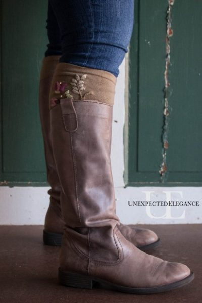 Handmade Gifts:  No-Sew Boot Socks with Embellishments