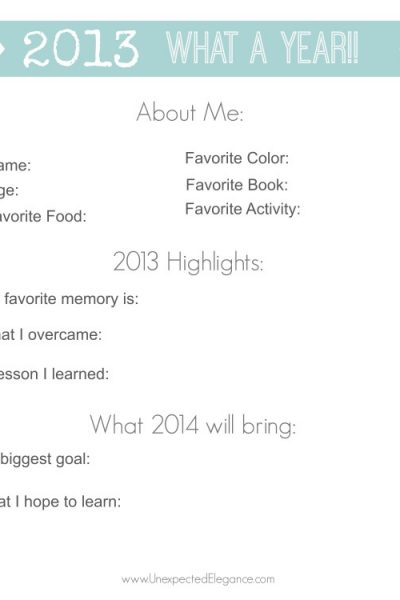 New Year's Printable:  A Year in Review