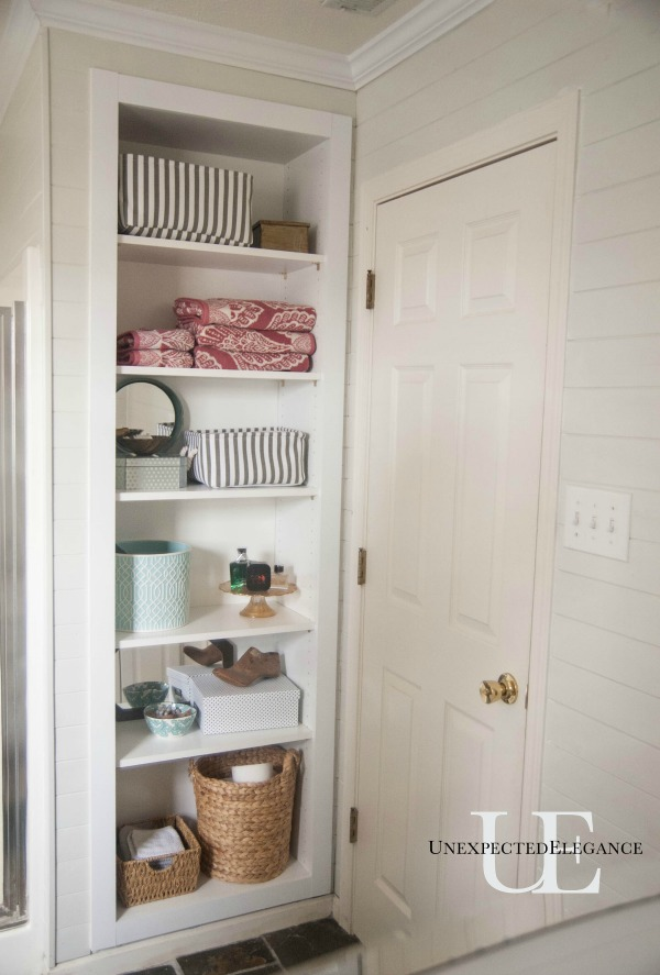 DIY Built In Shelving for My Bathroom | Unexpected Elegance
