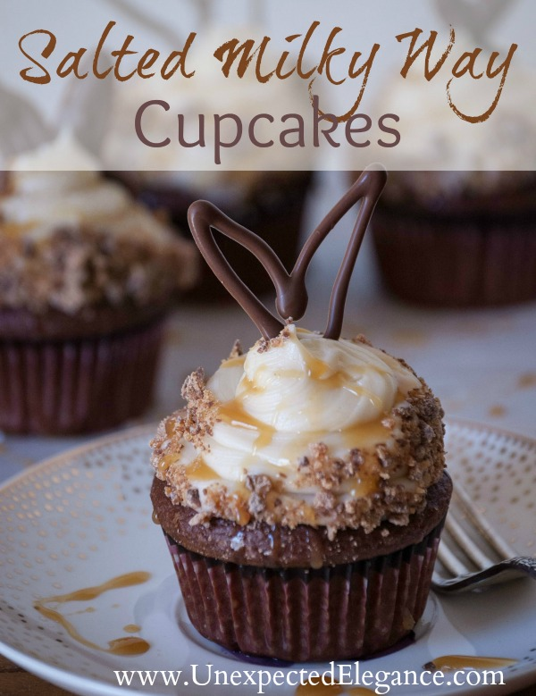 Salted Milky Way Cupcakes with Chocolate Bunny Ears #EatMoreBites #cBias
