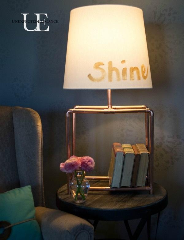 DIY Copper Table Lamp and GE Light  #LEDSavings #shop