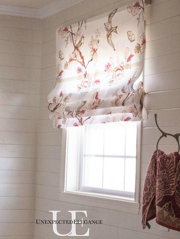 Master Bathroom Progress Custom NO SEW Roman Shade Unexpected - Roman shades for bathroom window