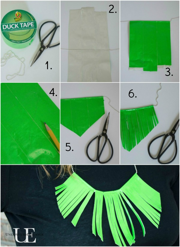 Steps for Making Duck Tape Fringed Necklace