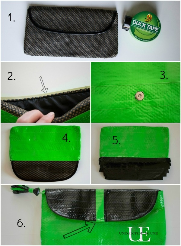 Steps for Upcycling a Clutch with Duck Tape
