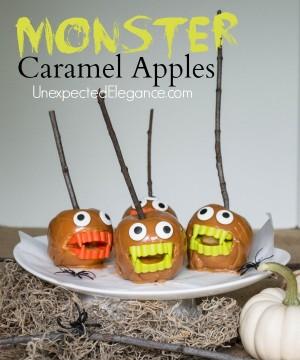 10 Minute Halloween Craft |MONSTER Caramel Apples