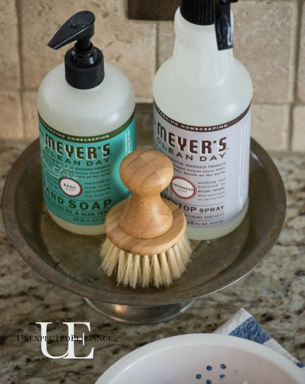 DIY Soap and Cleaner Sink Dish tutorial. It's a great way to add a little character to one of the hardest, most utilitarian areas of your home. #HomeGrownInspiration #spon