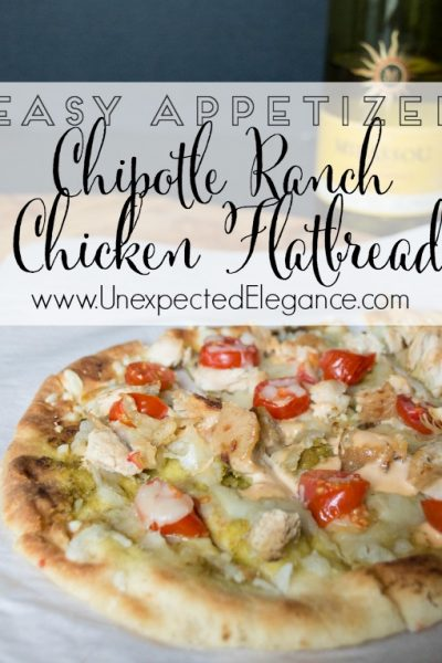 Chipotle Ranch Chicken Flatbread Appetizer & Chardonnay