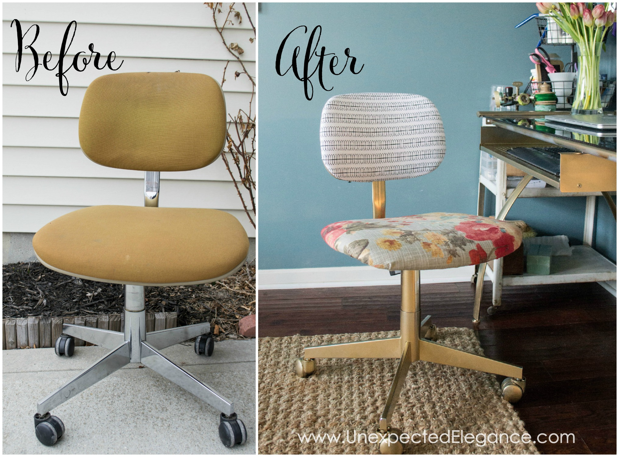 This chair transformation only cost a few dollars and made a big impact!  Check out the before and after.