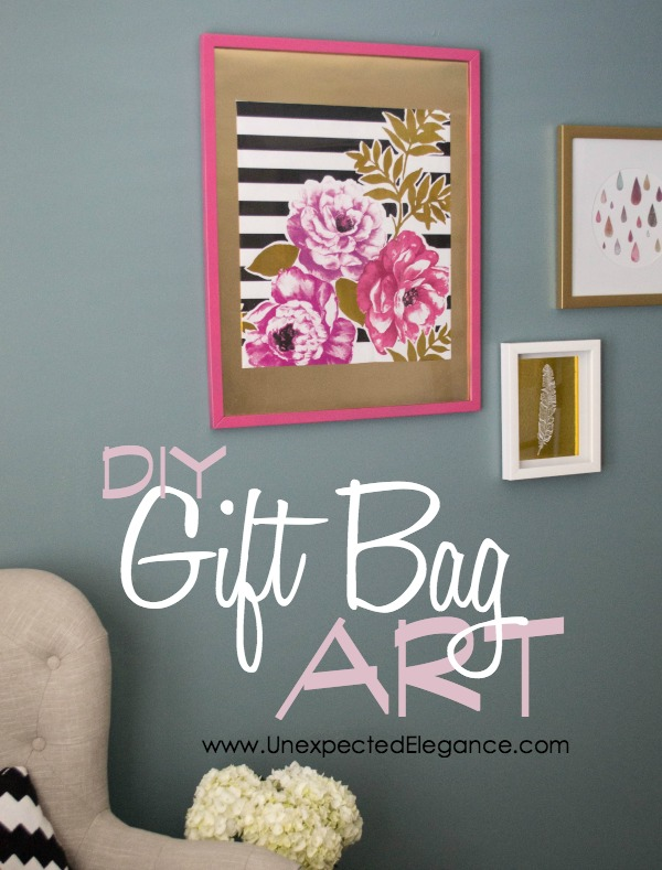 Artwork can be so expensive, especially larger pieces...but there is always a way to get around it.  You can make your own from a large piece of scrap wood, architectural salvage or GIFT BAGS!  Find out how to make easy DIY gift bag art!!