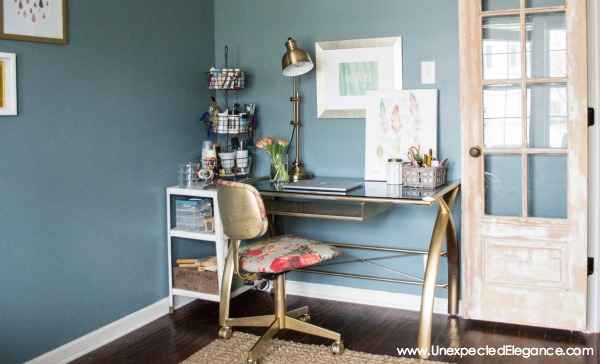 A thrift store find can sometimes be the best solution to a problem!  See how this desk transformation completed the space.