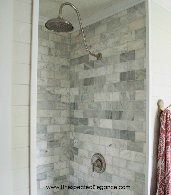 Budget friendly solutions for a high-end shower remodel.