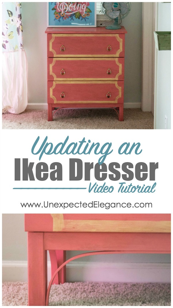 Do you have a boring dressing that needs an update? Check out this quick and easy hack for an Ikea dresser. It cost less than $5 and changed the profile of the legs!