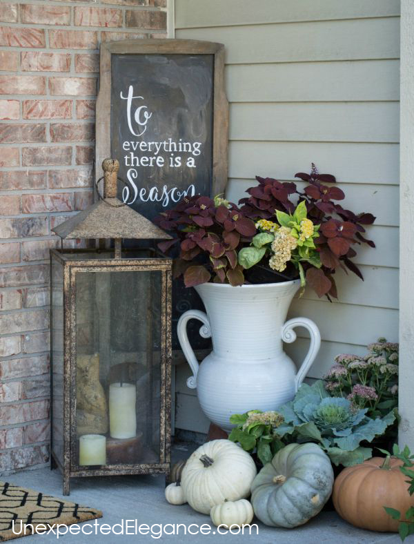 Check out this inexpensive ideas for adding color to your fall porch this year!