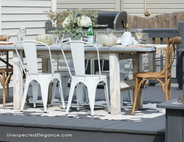 Check out a great DIY zinc outdoor table with links to help you make your own. The zinc ages perfectly outside and leaves a beautiful patina.