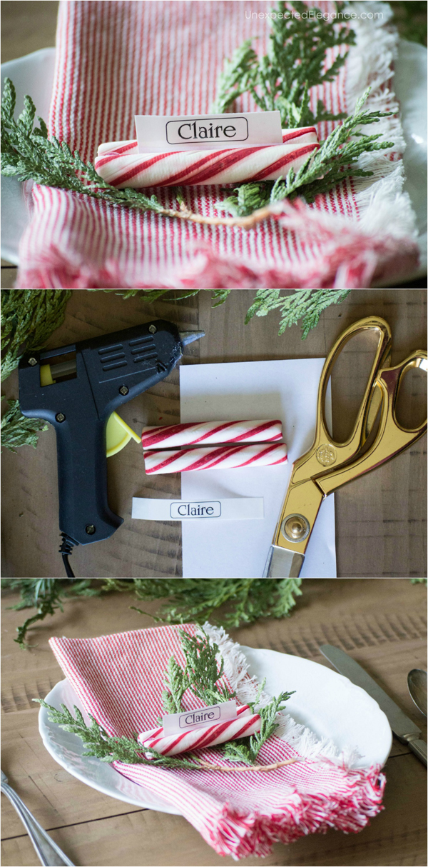 Super easy and quick place cards...a great diy idea to add a personal touch to your Christmas table!