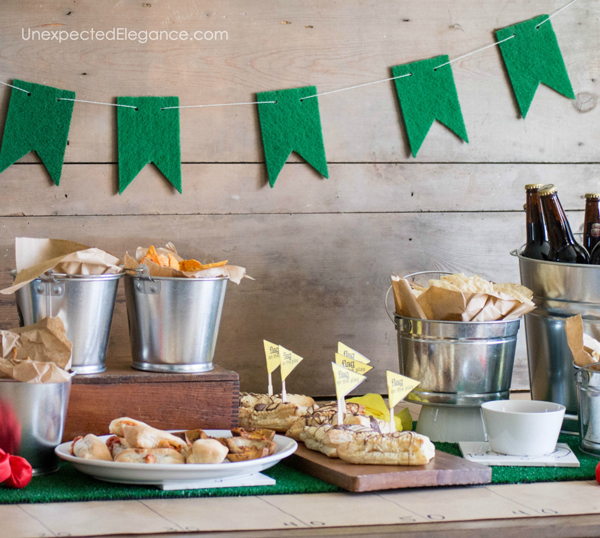 Easy Super Bowl Party Decor | 5 Minute Turf Banner