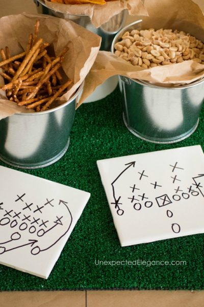 Easy Super Bowl Party Decor | 2 Minute Football Play Hot Pad