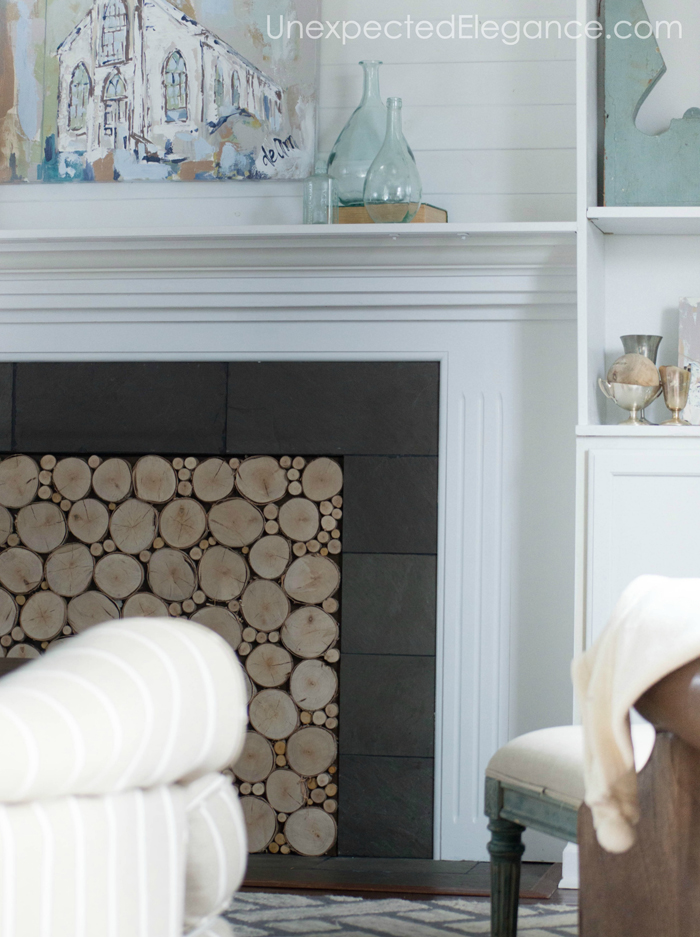 Give your fireplace the look of stacked logs, just this quick and easy tutorial.