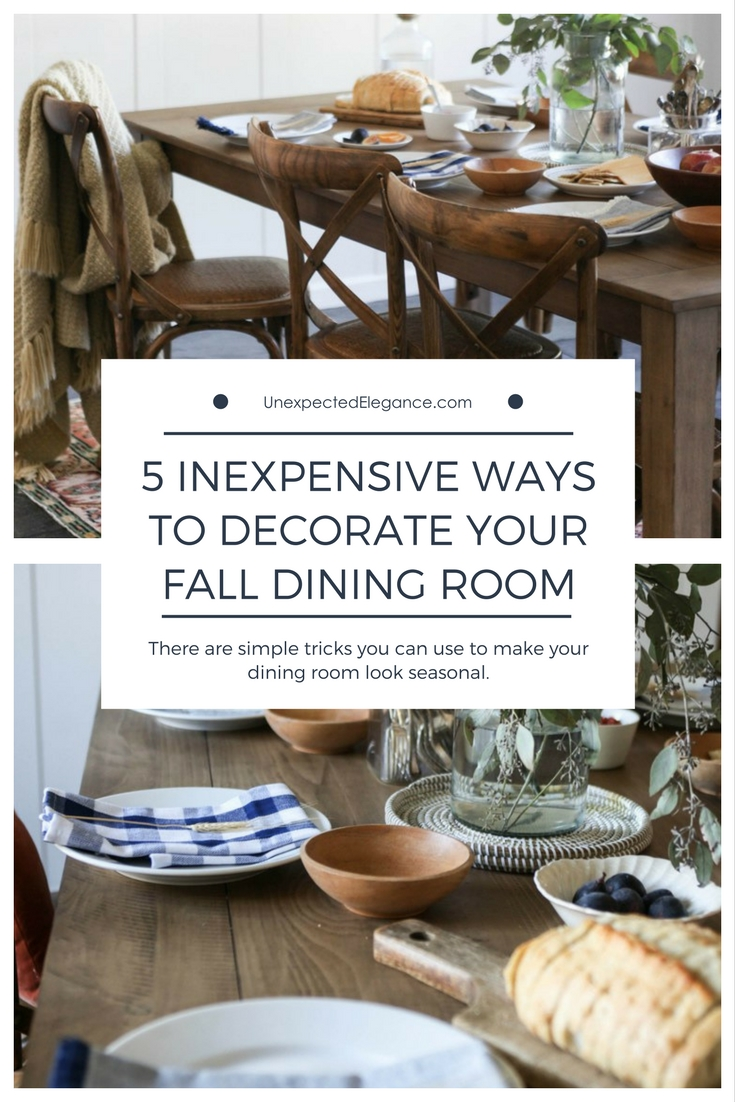 Chances are you'll be hosting a number of dinners throughout the fall season. Here are some inexpensive ways to decorate your fall dining room.