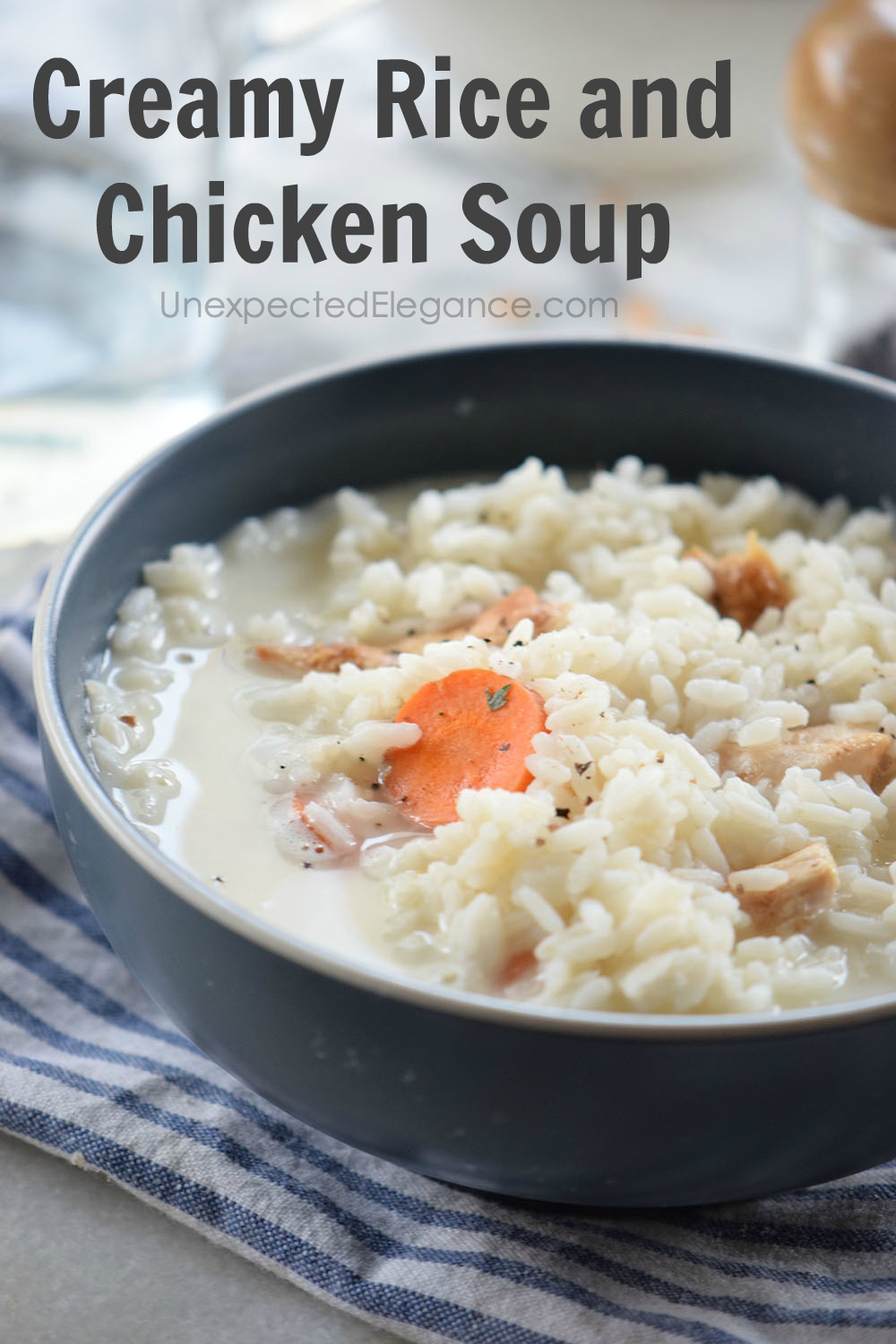 Need a warm meal tonight that tastes great? Give this creamy rice and chicken soup a try! Add a salad and you have a complete meal!