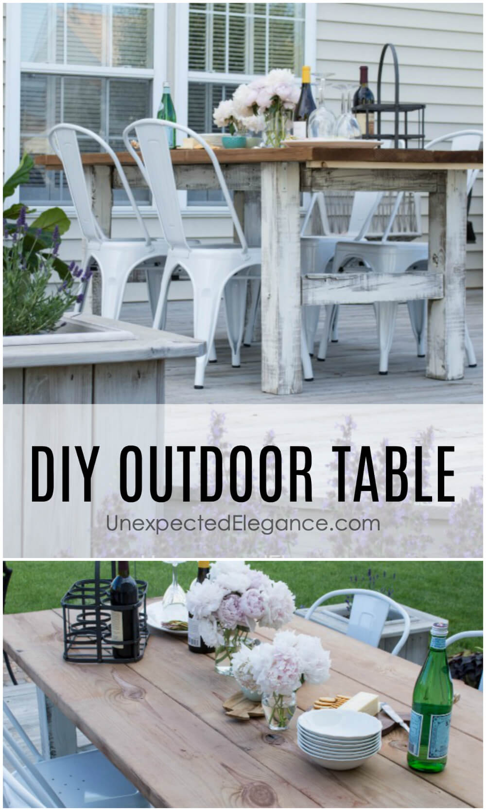 Looking for an expensive and sturdy outdoor table? Get a step-by-step tutorial for making an EASY, DIY outdoor table that won't break the bank!