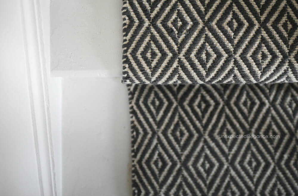 See how to easily change out the carpet with a cheap runner to transform your stairs.
