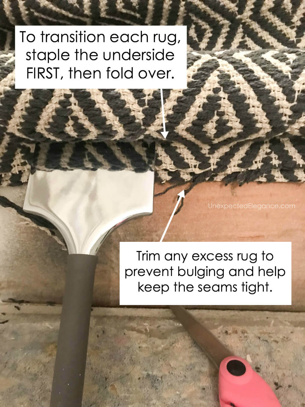 How to install a rug runner on the stairs.
