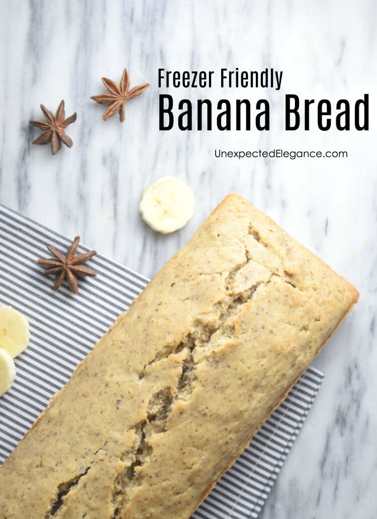 If you love bananas, you need to try this freezer friendly banana bread recipe.  It's great for a quick breakfast or when you need an unexpected dessert!