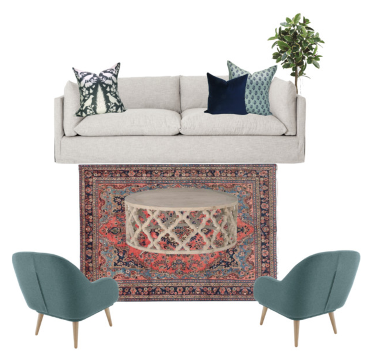 Learn how to place a rug in your space and save your budget! #homedecor #interiordesign #rugplacement